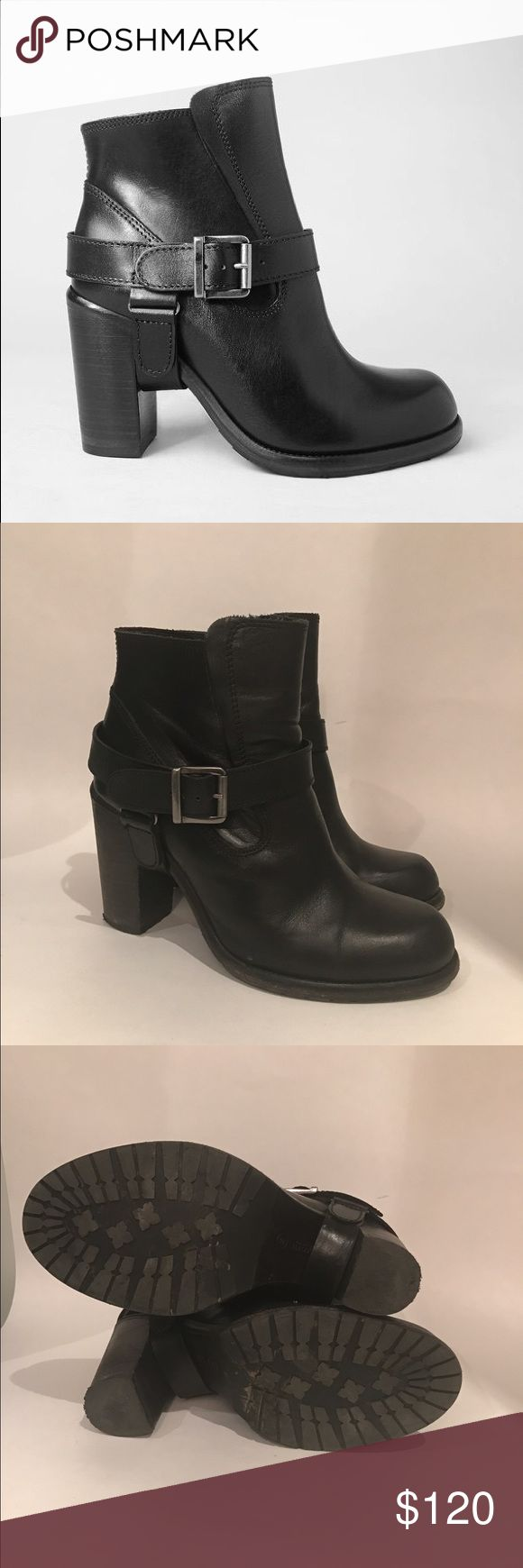All Saints Jules Boots Great leather block heel black boots. Interesting leather details. Seen on Behati Prinsloo! Worn but in good condition. Sz 40 All Saints Shoes Ankle Boots & Booties