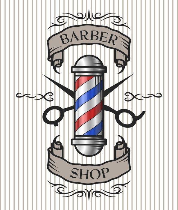 Barber Shop Emblem Wall Mural Pixers We Live To Change In 2021 Barber Shop Barber Shop Sign Barber Pole