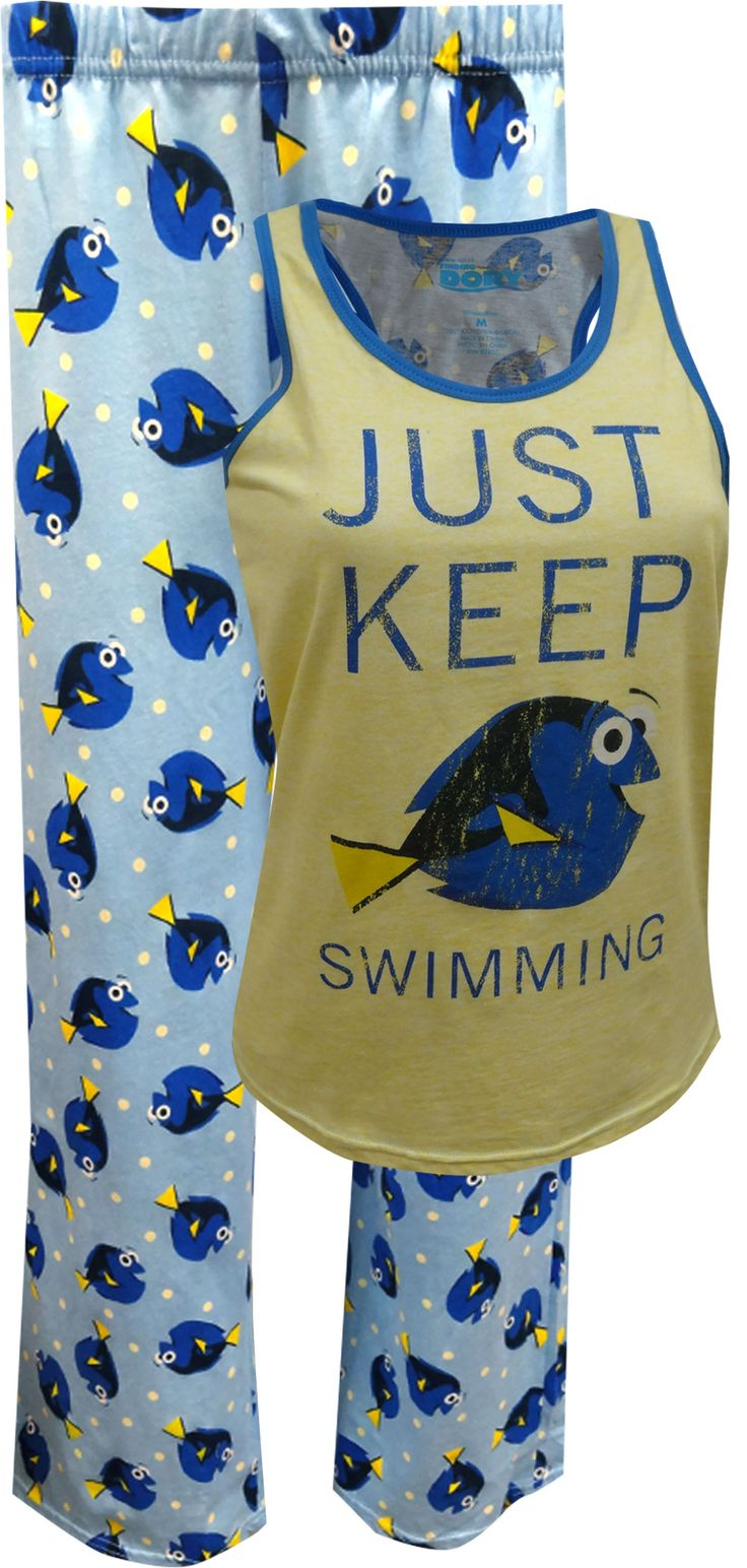 Perfect for every Dory fan out there! These 100% cotton knit pajamas for women feature the ever popular Dory from the Finding Nemo and Finding Dory movies. Her famous phrase