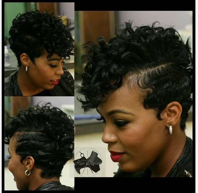 Short hair with finger waves and curls