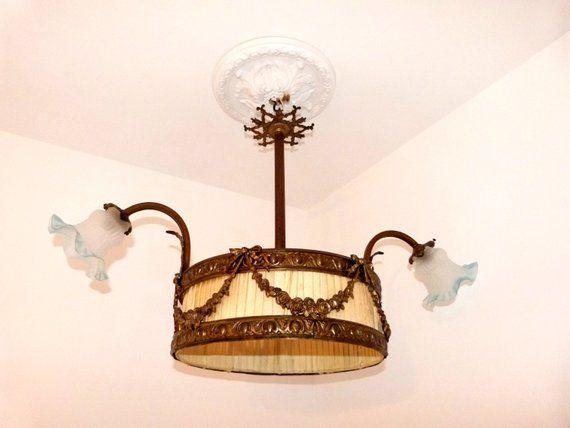 Antike Franzosische Kronleuchter Beleuchtung Hangende Decke Pendelleuchte Lampe Bronze W Blau Mattglassch Franzosischer Kronleuchter Pendelleuchte