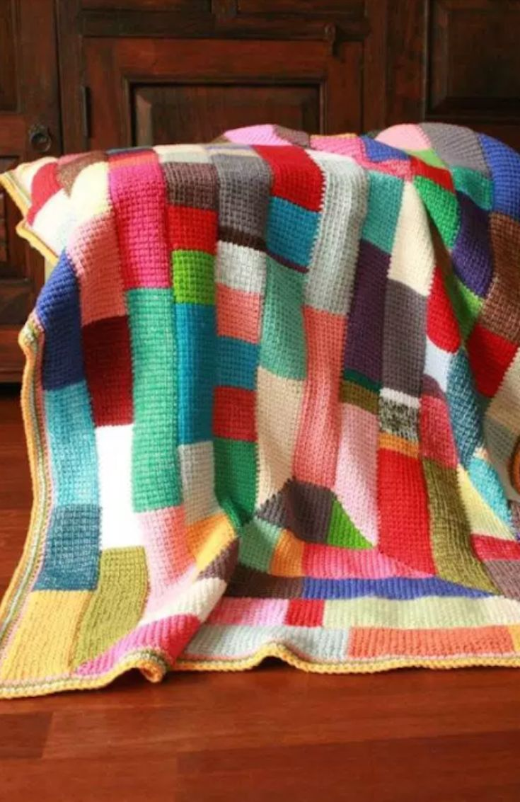 Crochet Afghan: Tunisian Ten Stitch Stash Buster!