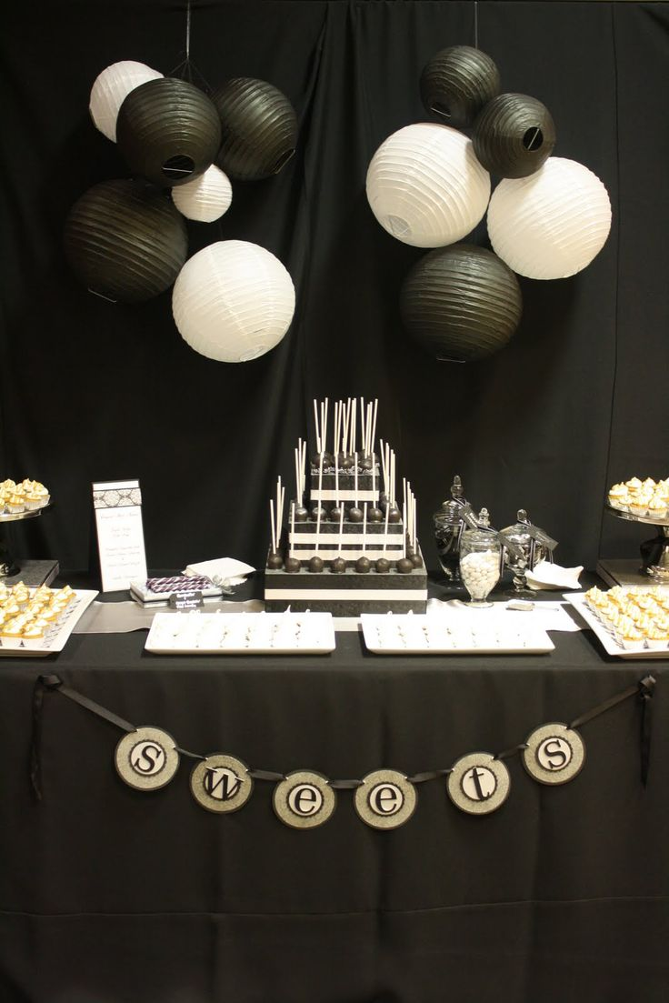 Black And White Dessert Table Love This For A Male Birthday Party
