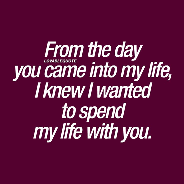 From the day you came into my life, I knew I wanted to spend my life with you. ❤  This quote is all about when you meet the one. The one that changed your life forever. The one that you KNEW you wanted to spend the rest of your life with, the moment you saw him or her. #love #quote ❤