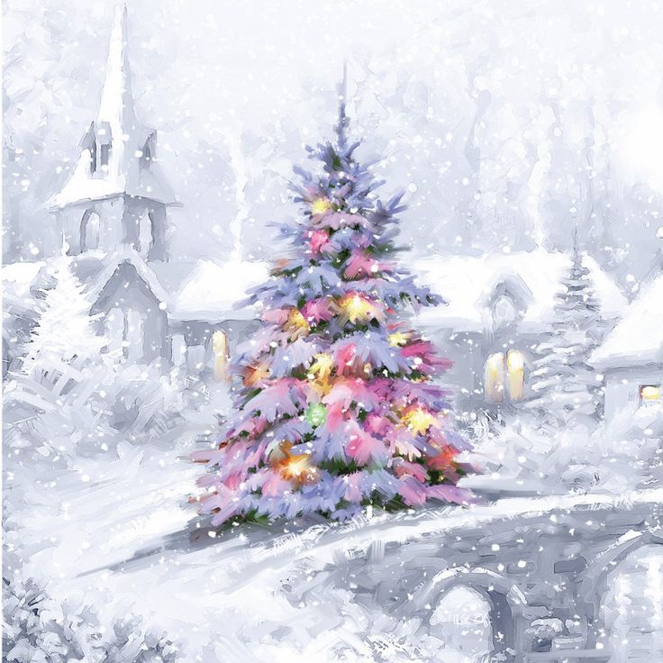 beautiful painting of colourful christmas tree on white snow covered bridge with church christmas card - Snow Covered Christmas Trees
