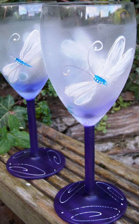 Dragonfly Hand painted Wine Glasses in purple on Etsy, $19.90