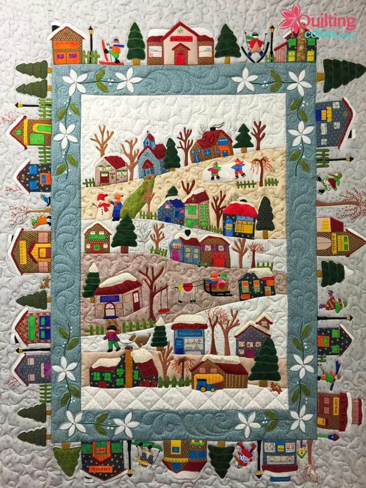 QUILT, Houses - story folk art, as seen on quiltingcolors.com   repinned b33d3617ac33