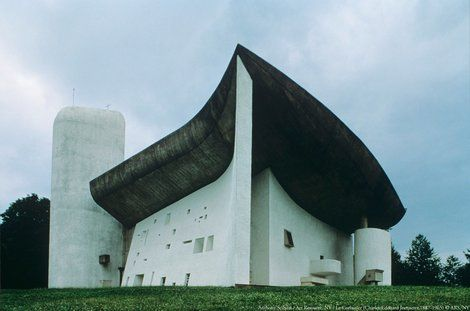 """Le Corbusier, """"Space and light and order. Those are the things that men need just as much as they need bread or a place to sleep."""" Chapelle de Notre-Dame du Haut, Ronchamp, 1950-1954 Le Corbusier"""