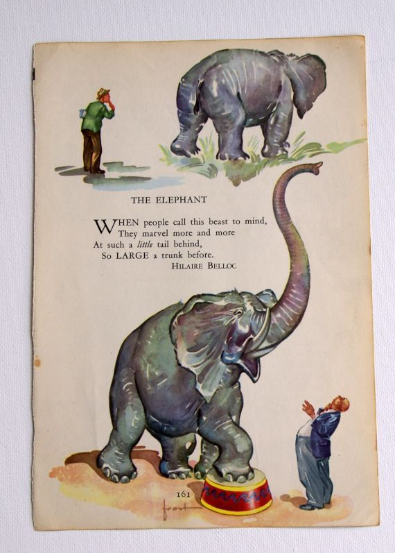 Vintage Childrens ELEPHANT Illustration With Poem By Hilaire Belloc