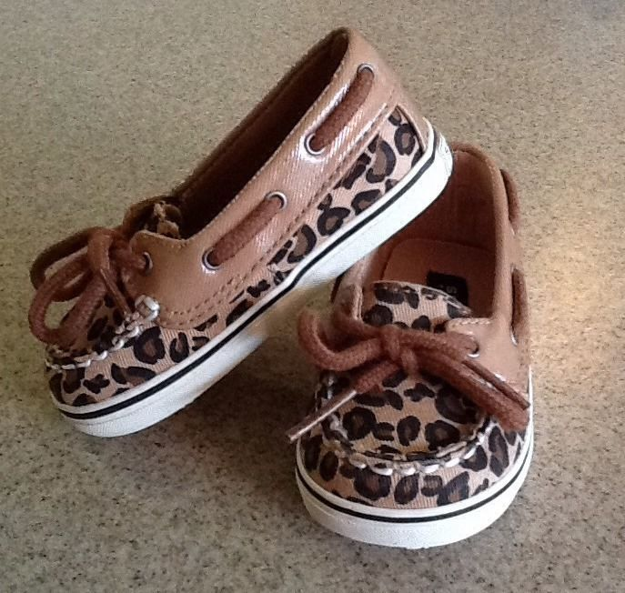 Sperry Top-Sider Biscayne Crib Infant Brown Leopard Print Shoes Size 4 Girls NIB #Sperry #CribShoes