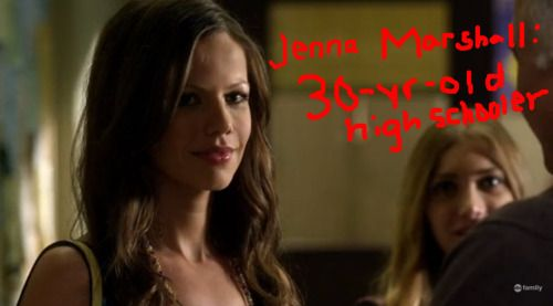 """OK, so I looked it up, and Tammin Sursok isn't actually 30, but Jenna's lack of blind glasses sure does make it way more noticeable how NOT-highschool-aged she is. I suppose with Maya gone, the show needed another """"girl"""" to fill her shoes."""