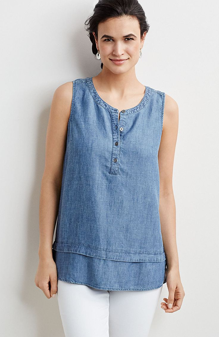 plus size Tencel® & linen indigo sleeveless top from J.Jill