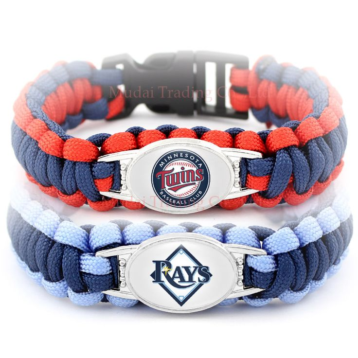 (10 Pieces/Lot) Minnesota Baseball Team Twins Paracord Bracelets Survival Tampa Bay Camping Sports Navy Blue Red Cord Rays