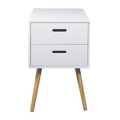 Woodluv Retro Bedside Table With 2 Drawers