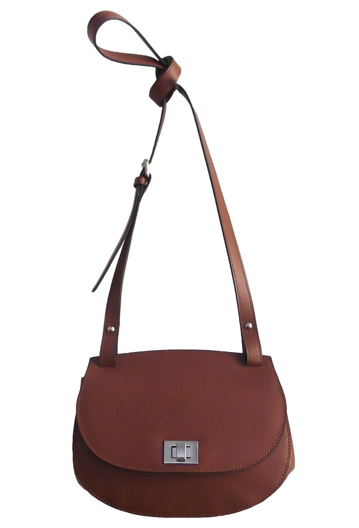 Brown Colour PVC Women Tote Bag with Metal Buckle Detail