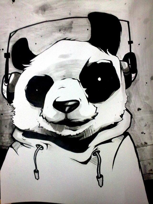 тем картинки панда в очках и наушниках бежит очень