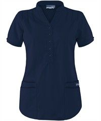 Butter-Soft Scrubs Mandarin Collar 4-Pocket Scrub Top...Navy