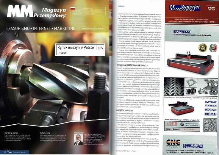 Advertising on the magazine MM Magazyn Przemysłowy about Waterjet Corporation partecipation at the fair ITM Polska at Poznan in Poland, June 2017 in collaboration with CNC-PROJEKT Sp. z o.o. Sp. k.