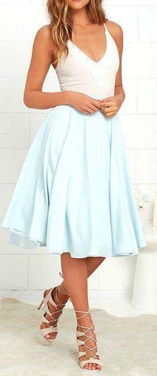 #casual #outfits #street #style #fashion #inspiration |White Bodysuit + Baby Blue Midi Skirt