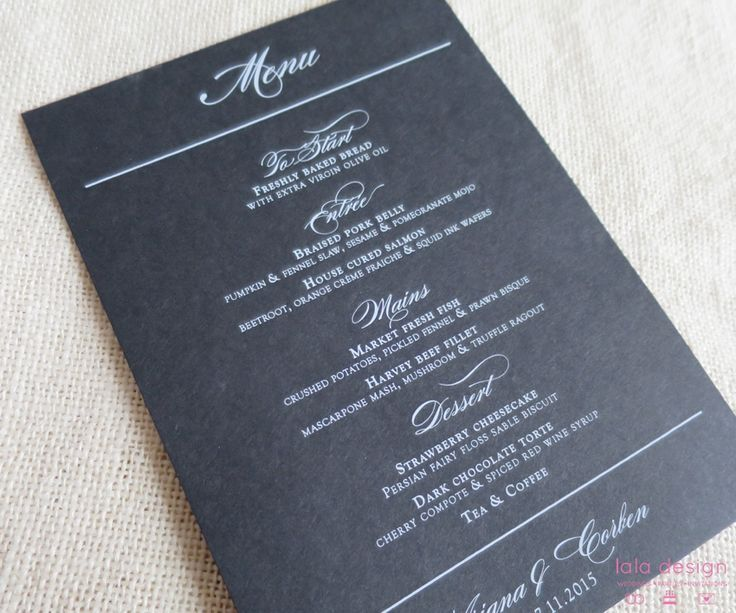 Black A5 Menu with White Ink