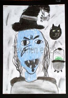 Tekenen en zo: houtskool Benodigdheden: Benodigdheden: houtskool pastelkrijt wit tekenpapier op A4 formaat zwart papier voor achtergrond haarlak. De opdracht: teken met houtskool een boze heks en gebruik voor de invulling van het gezicht een koude kleur. Met houtskool worden eerst de contouren van de heks getekend. Dan wordt het gezicht ingekleurd met pastelkrijt, en daarna worden de ogen, neus en mond met houtskool ingetekend. Tenslotte wordt de tekening afgemaakt met houtskool.