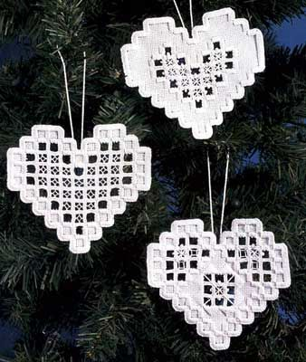 Hardanger Heart Ornaments kit - White