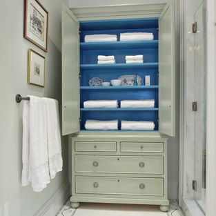 Linen cabinet for master bath; painted interior