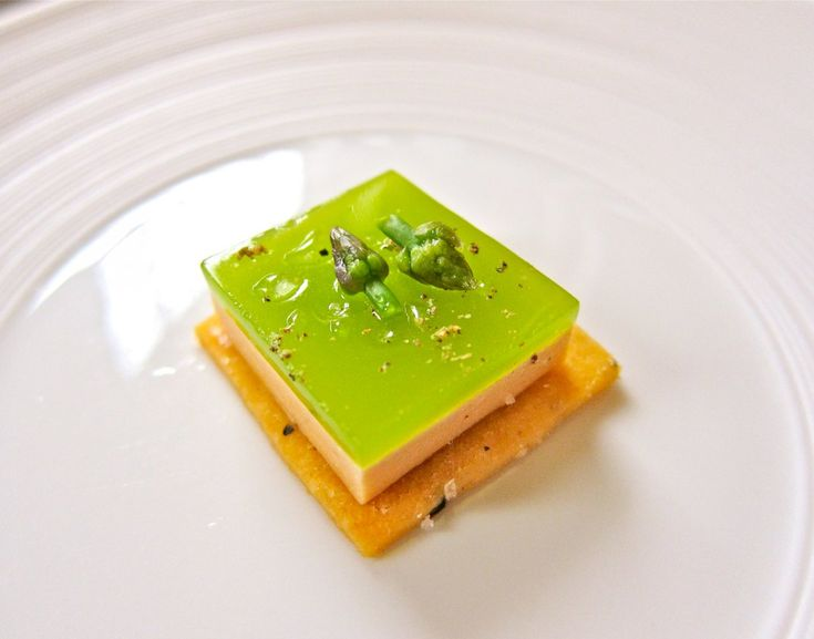 Over the years, Eleven Madison Park has made its famous foie gras seared, cured, and made into pudding. This preparation came topped with an asparagus gelée.