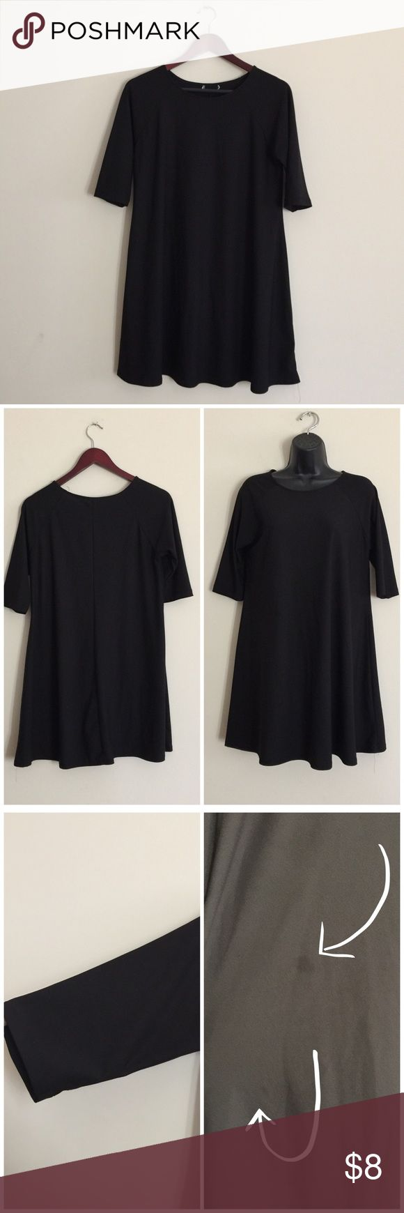 ❌Sold to a friend❌ Little black swing dress This has been well loved and needs a new home! Great to wear with or without leggings. Keep in mind it's a mini dress. Has a few small spots in the front, as shown in photos, from fabric softener. Sleeves are about 3/4. Material is polyester even though there's no tag. Flowy fit. Semi sheer.   B= 19 inches pit to pit | L= 33 inches.   ❌No trades ❌No PayPal  ❤️Smoke free home  ❤️24 hour reserves ❤️Pet friendly home  🚩Use bundle feature for a…