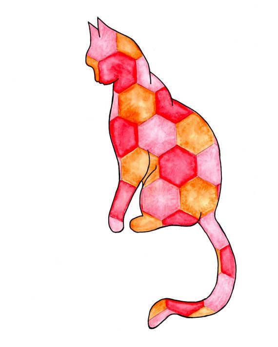 Cat with Hexagons Printable - Etsy - Little Pond Prints