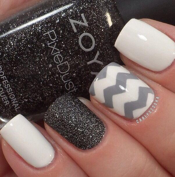 Nails- White, black sparkle, gray and white chevron.  Beautiful nail design