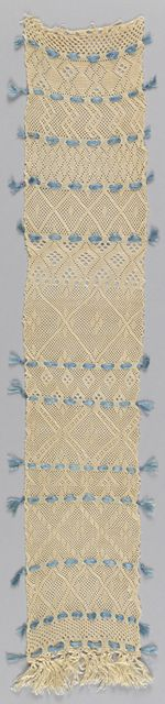 """One end of a piece of sprang with thirteen different patterns. Blue silk threaded through decorative holes divides the patterns.    This sampler is medium: silk technique: sprang. Its dimensions are: H x W: 53.3 x 10.2 cm (21 x 4 in.).    This sampler is from Sweden and dated """"19th century""""."""