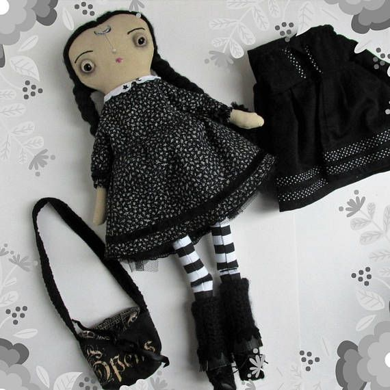 Wednesday Addams inspired one of a kind, handmade  cloth doll