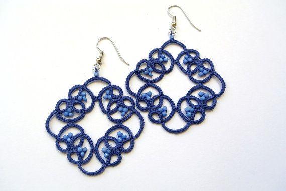 Tatted lace beaded earrings navy blue lace jewelry by Ilfilochiaro