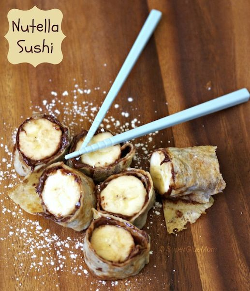 Nutella Sushi Rolls and Crepe Recipe, I'd use gluten free tortilla and natural dark chocolate almond butter!... Nutella for a cheat day