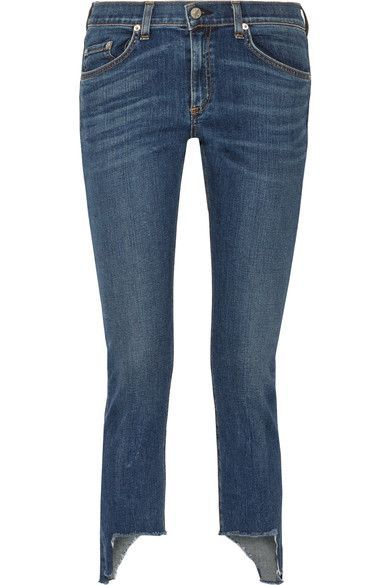 rag & bone - The Capri Distressed Mid-rise Skinny Jeans - Blue - 31