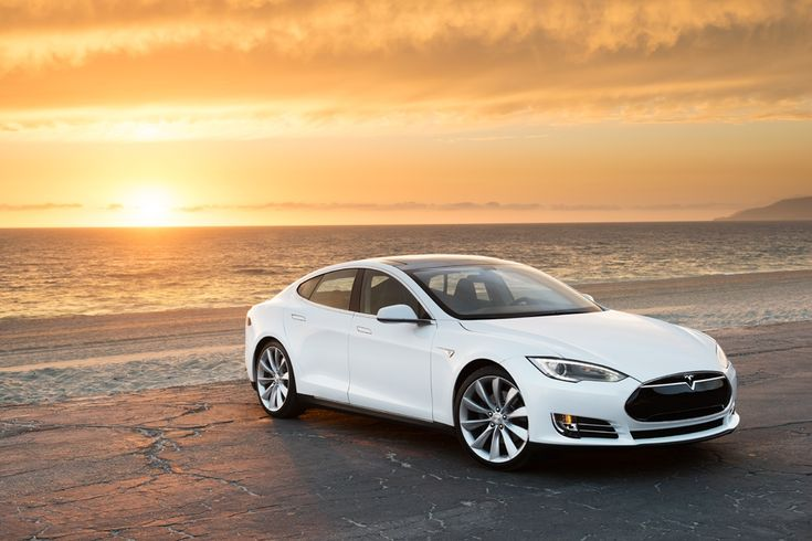 Model S in White, At the Beach