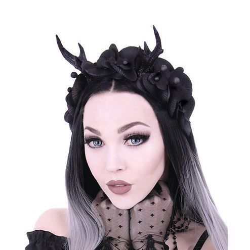 Wide headband adorned with black antlers and eight black orchids, one size. Realistic antlers are very detailed and stand 10cm tall. Durable and firmly attached to the headband. Perfect gothic or cosplay accessory. Supplied in sturdy cardboard Restyle box.