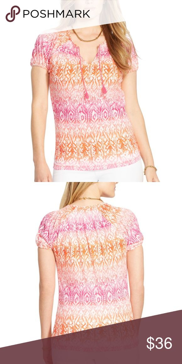 lauren ralph lauren plus size smocked  top lauren ralph lauren plus size smocked ikat print top, imported, cotton , machine washable Lauren Ralph Lauren Tops Blouses
