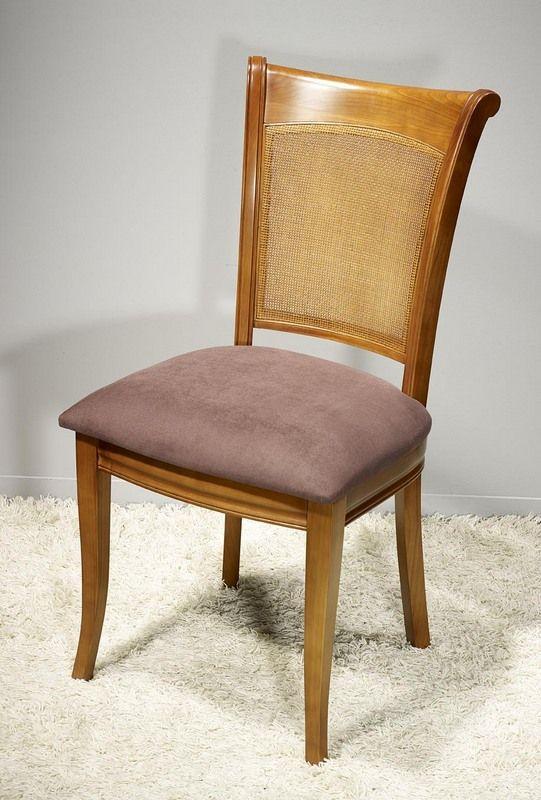 Chaise Ambre réalisée en Merisier de style Louis Philippe Assise Chocolat