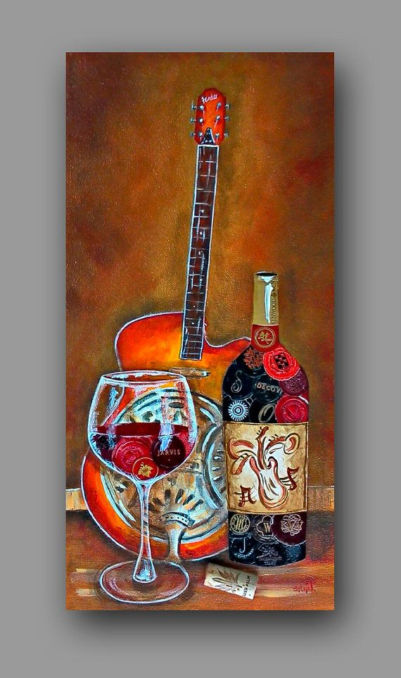 Now this is my kind of combo!   Original Wine Art Painting  Fender Guitar and Red by WineInArt, $350.00