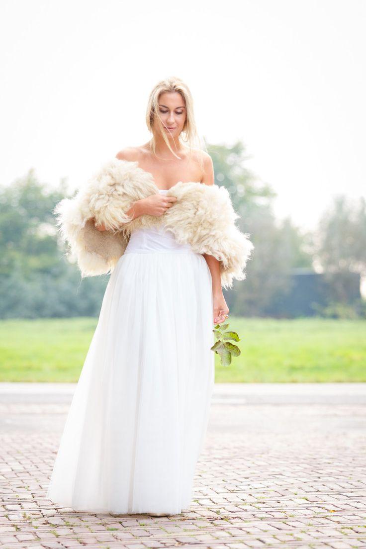 Kraag 'Wool wonder' – kraag van vilt, vilten kraag, 100% wol, eco chic ecofabulous, wollen sjaal, bontkraag, eco bont, Dutch design by BridalStories on Etsy
