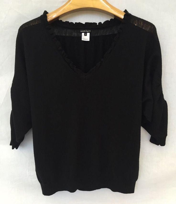 NANETTE LEPORE WOOL RUFFLE RUCHED BLACK SLOUCHY TOP SHIRT BLOUSE SZ M $348 #NanetteLepore #VNeck