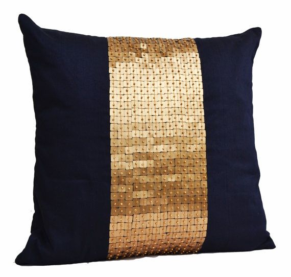 Throw Pillows - Navy Blue gold color block in silk sequin bead detail cushion - sequin bead pillow - 18X18 - Navy blue pillow - gift pillow on Etsy, $27.50