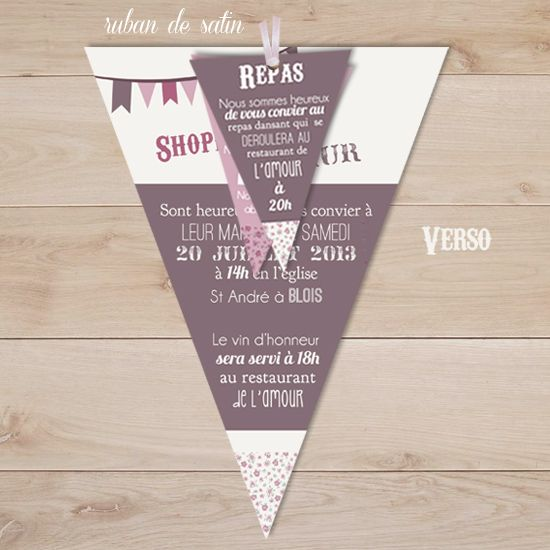 faire part mariage retro vintage champêtre mauve rose | Sweet Paper - Création de faire part sur mesure et boutique en ligne - Faire part ma...