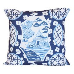 "Dana Gibson's Canton throw pillow draws on traditional Asian designs to create the ultimate transitional accessory. A classic chinoiserie aesthetic takes center stage on this cotton cushion, while geometric medallions decorate the sides. A choice of four preppy palettes provides unlimited styling options to poised beds and sofas. 22"" Square. Shown in: Blue. Envelope closure in back. Includes down insert."
