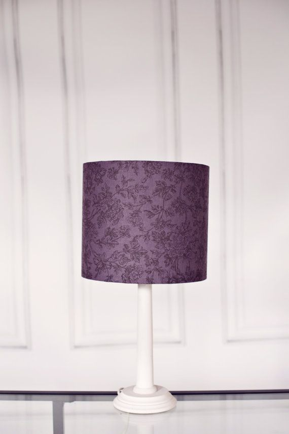 Grey lampshade purple lamp shade floral by ShadowbrightLamps