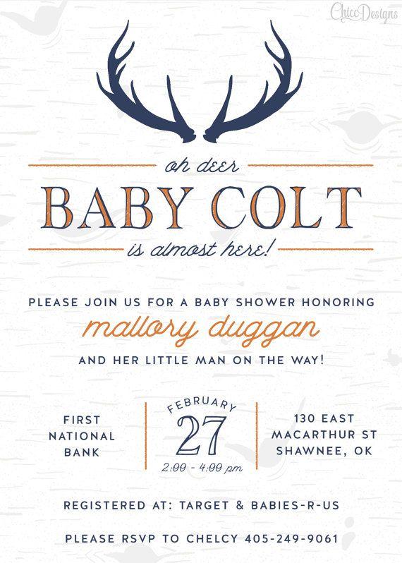 Captivating Deer Baby Shower Invitation   5x7   Antlers   Oh Deer   Wood   Navy Blue U0026  Orange   Rustic Baby Shower   Digital/Printable File