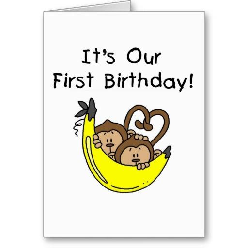 Twin Boys 1st Birthday Monkey Tshirts And Gifts Card