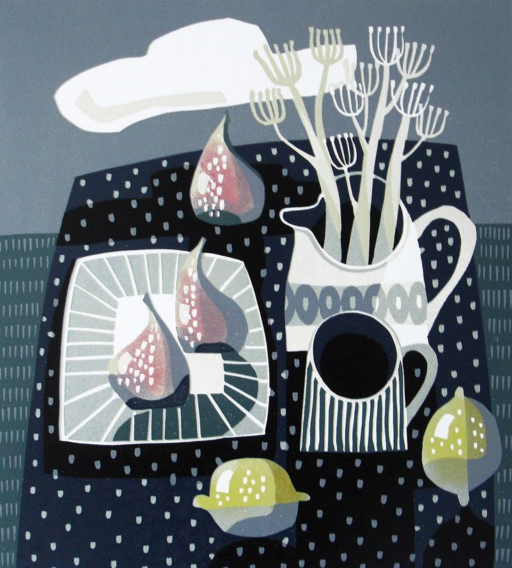 Jane Walker - Lemons and Blue - linocut print